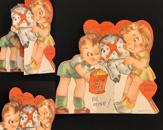 Vintage Valentine Card, 1940s Valentine, chubby cheeked girl and boy Hobby Horse Valentine, Fold Out Valentine, Die cut card, Paper Ephemera