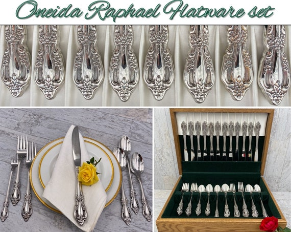 Vintage Flatware Set Oneida Raphael Distinction Deluxe Stainless Silverware, Service for 12 Excellent Condition, Wedding Gift