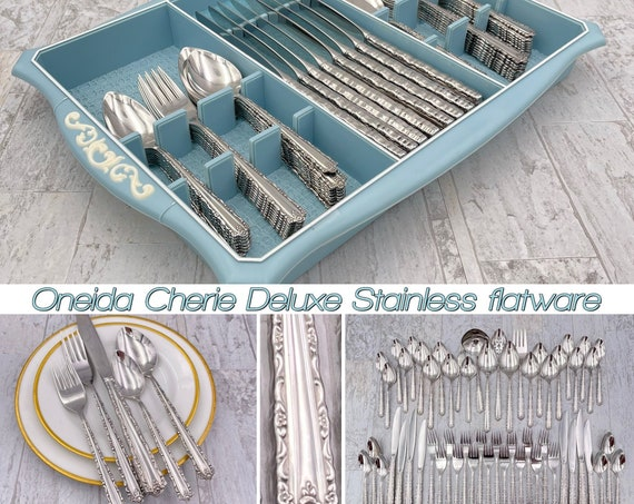 Oneida Cherie Deluxe Stainless Flatware set, Service for 8 in Storage Tray, Vintage Silverware set, Mint Condition, wedding gift