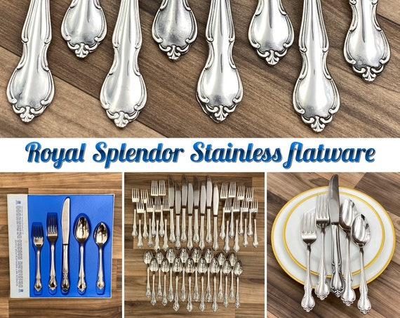 Vintage Stainless Flatware Set, Rogers Royal Splendor, Service for 8, scroll Pattern, Classic Silverware, Excellent condition, wedding gift