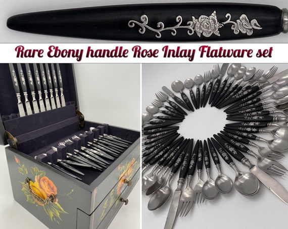 RARE Ebony Flatware set, Guildcraft forged Rose Inlay Floral handle in hand painted silverware chest Vintage Silverware set