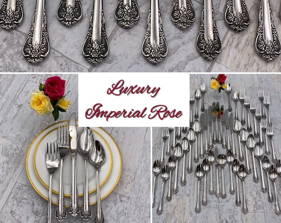 New Luxury Stainless Flatware Set, Vintage FB Rogers Imperial Rose Silverware, Service for 8, Wedding Gift, Rare Cutlery
