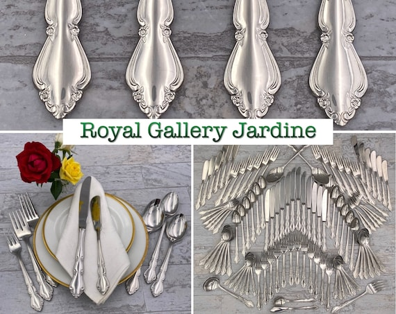 Vintage Flatware Set Royal Gallery Jardine Deluxe Stainless Silverware, Service for 12, Mint Condition, Wedding Gift