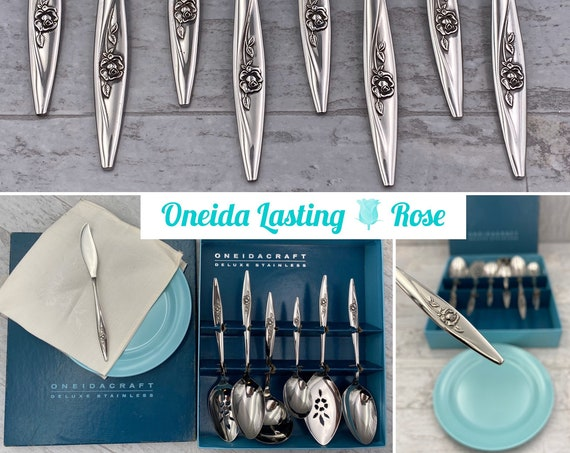 Oneida Lasting Rose Deluxe Stainless Flatware Serving Set Vintage Silverware set, Excellent Condition, wedding gift