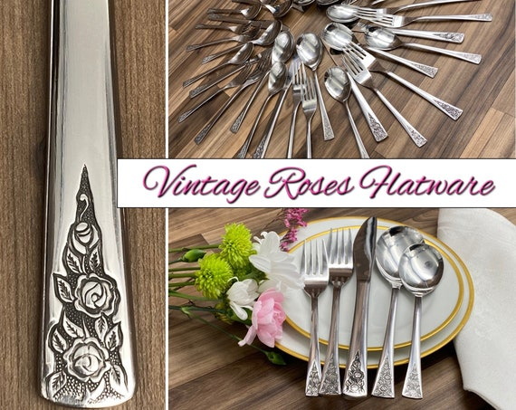 Vintage Stainless Flatware Set, Rose pattern Service for 8, Classic Silverware, Shabby Chic wedding gift