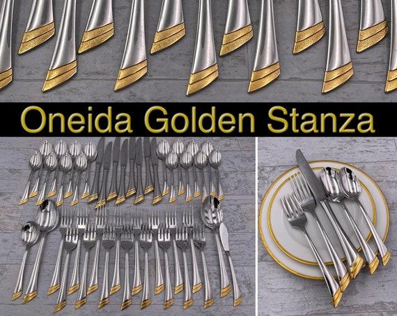Vintage Oneida Flatware Set, Golden Stanza Stainless service for 8, Luxury Silverware Wedding Gift