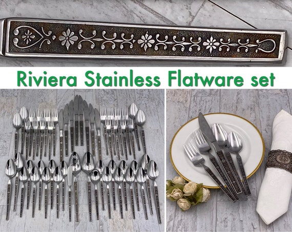 Mid Century Stainless Flatware set Cordova by Riviera Floral scroll handle MCM Flatware Vintage Silverware set
