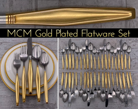 Vintage Golden Flatware set, Gold Electroplate Flatware, service for 8, Hollywood Regency