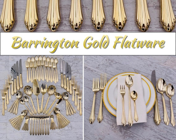 Vintage Flatware set, Retroneu Excel Barrington Gold, Gold plated Stainless, service for 8, Gift for Her