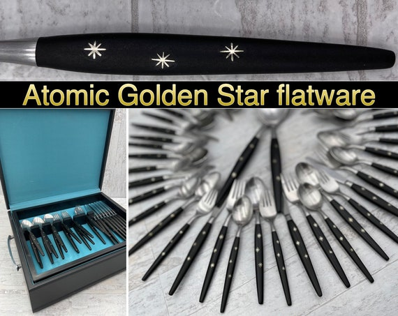 Rare Atomic Star Flatware Set, Vintage Golden Star Stainless Forged silverware, service for 10