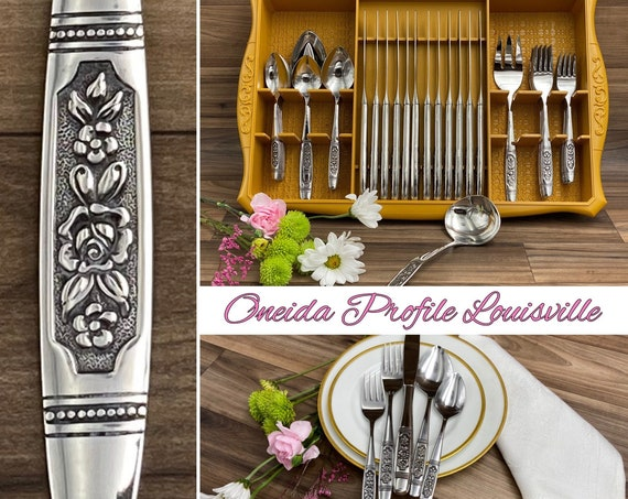 Vintage Floral Flatware Set in storage Tray, MINT Oneida Profile Louisville pattern Stainless Silverware, LARGE Service for 12, Wedding Gift
