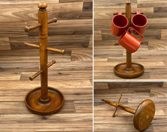 Rustic mug holder, Wooden Mug Tree, Cup Hanger, kitchen organization