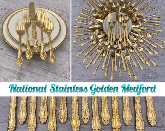 Vintage Gold Flatware Set, service for 14, Golden Medford Wedding Gift