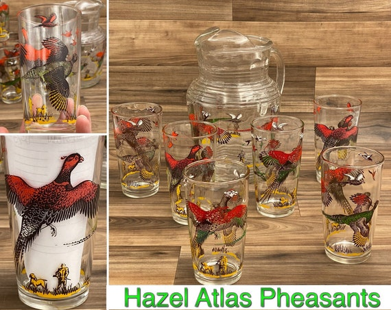Pheasant Hunter Pitcher And Glasses set, Vintage Hazel Atlas Drink ware, Rustic lodge Cabin Home Decor, Fathers Day gift for Dad