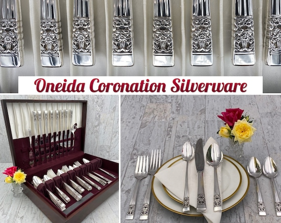 Oneida Community Coronation Silverware Set, POLISHED service for 8, silver chest, gift for her, Wedding gift, Holiday flatware