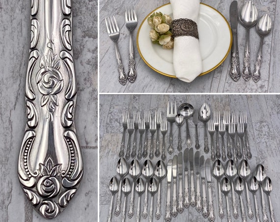 Vintage Stainless Flatware set, Service for 8, Excellent Condition, Floral handle Silverware