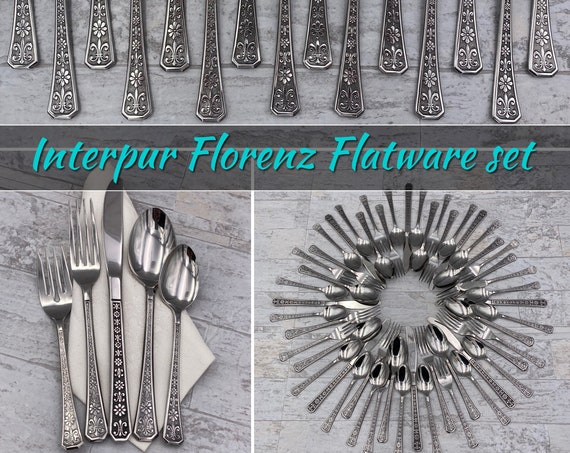 Mid Century Stainless Flatware set Florenz by Interpur Floral handle MCM Flatware Vintage Silverware set