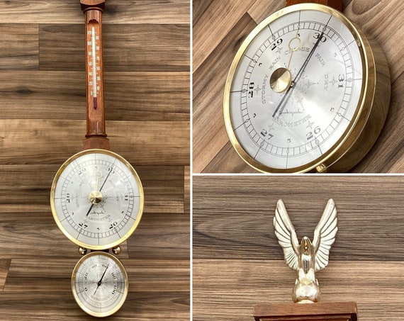 Airguide Weather Station, collectible Barometer Thermometer, Federal Style Office Decor, Gift for him