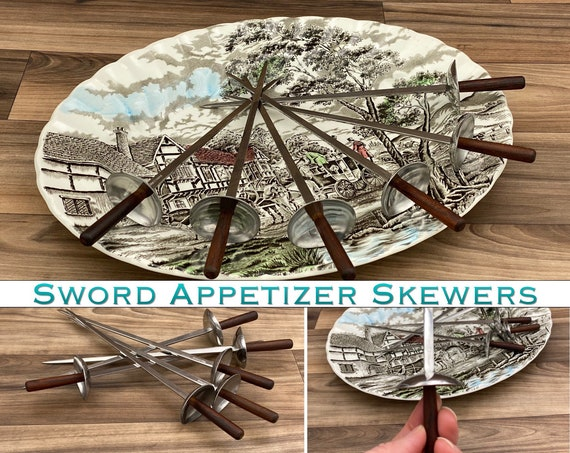 Vintage Sword Shish Kabob Skewers, Appetizer picks, Unique Cutlery set