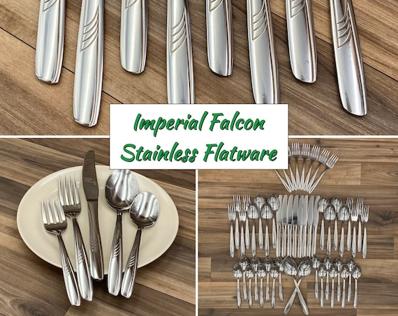 Vintage Stainless Flatware set, Falcon by Imperial Knife Co, Service for 8, Excellent Condition, Rustic Cabin Decor, Vintage Trailer