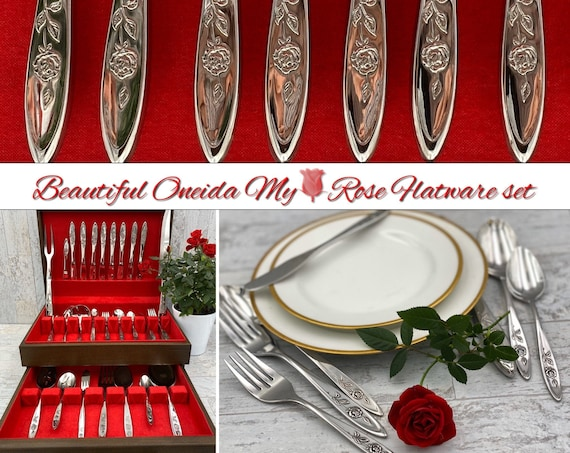 Oneida My Rose Stainless Flatware set, Service for 8 in Chest, Serving pieces, Carving set, wedding gift, gift for her, large flatware set