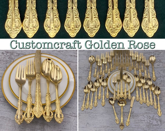 Vintage Gold Flatware set in Silverware chest,  Hollywood Regency, Wedding Gift