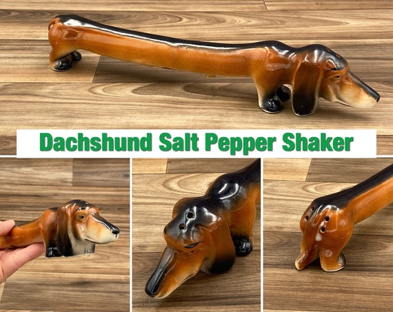 Vintage Dachshund Salt and Pepper Shaker, Wiener dog ceramic figurine, made in Japan collectible