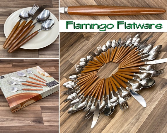 Vintage flatware Set, Flamingo Pattern Service for 8, Rustic Cabin, Camping Glamping outdoor entertaining