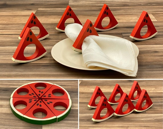 Vintage Napkin Rings, Watermelon Fruit Napkin rings, Rustic home decor, Picnic Table Decor, set of 6