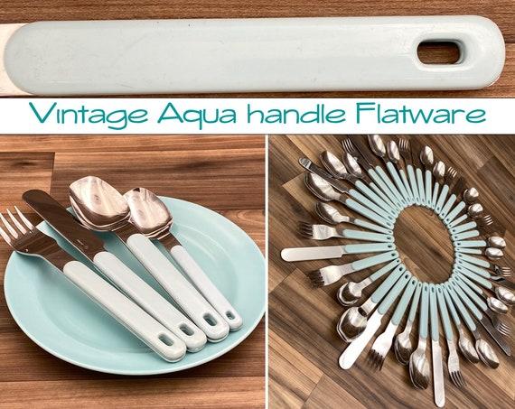 Vintage Stainless Flatware set, Aqua Blue, Plastic Handles, Colormates Silverware Set Rustic Home Cabin Decor, Outdoor Entertaining