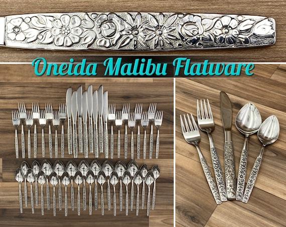 Vintage Floral Flatware set complete Service for 8, Oneida Malibu, Wedding Gift