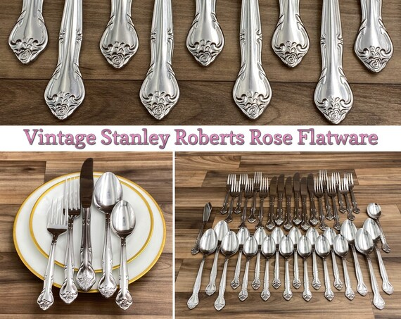 Vintage Stainless Flatware Set, Rose pattern Service for 6, Classic Silverware, wedding gift