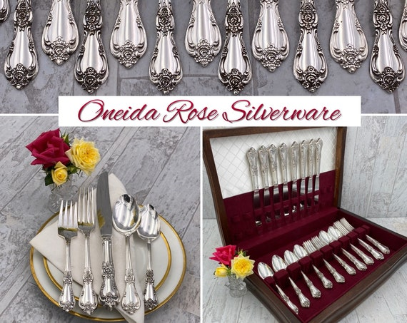 Vintage Flatware Set in Silverware Chest, Vanessa Francesca Oneida WM Rogers, Service for 8, Wedding Gift