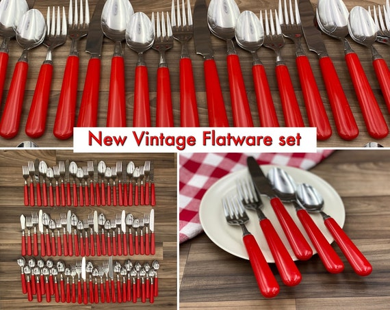 Vintage Flatware Set, Service for 12, Stainless Steel Red Handles, Rustic Farmhouse Home decor, Outdoor Entertaining