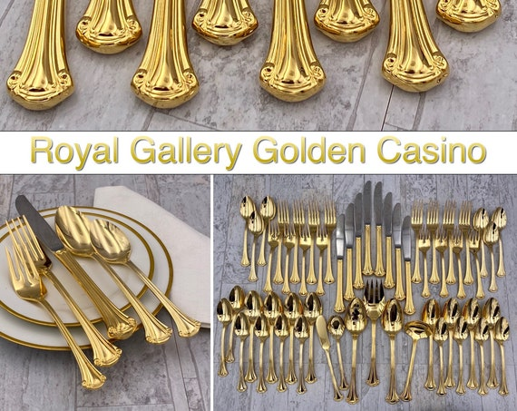 Vintage Gold Flatware set, Golden Casino by Royal Gallery, MINT Silverware set Hollywood Regency, Wedding Gift