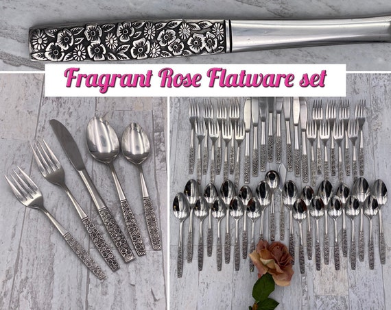 Vintage Flatware Set, Fragrant Rose pattern Service for 8, Classic Silverware, wedding gift