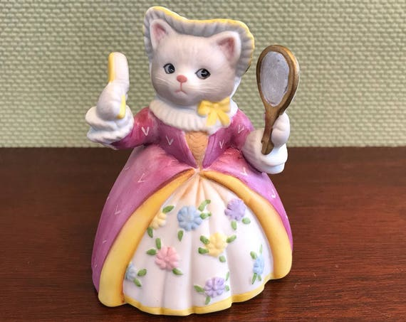 Porcelain Priscilla Cat Figurine, Jealous Stepsister, Kitty Cucumber Collectible Figurine, anthropomorphic Cat Figurine, Cinderella Series