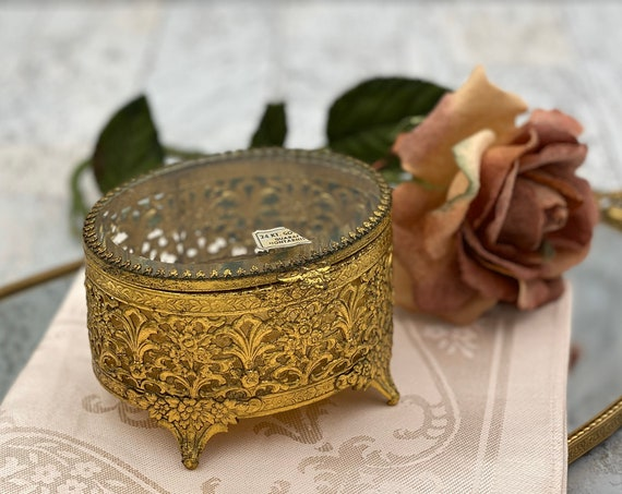 Vintage Jewelry Box, Gold Plated filigree Trinket Box, Glass Lid, champagne velvet cushion, Gift for Her, Valentines Day, Ring Holder