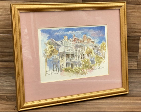 Framed Watercolor Print signed by Artist Hanna Freda, South Broad, Charleston, South Carolina wall art, Gold Frame