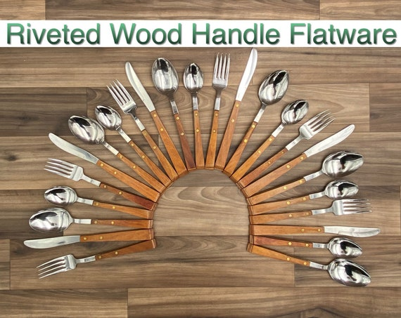 Vintage Flatware set, Continental silverware Wood Handle Rustic Home Decor, Cabin Decor, Glamping Camping