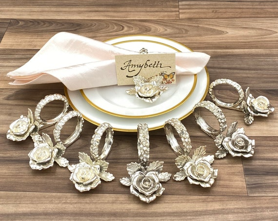 Princess House Rose Napkin Ring Placeholder, Silver plated Figural Napkin rings Dinner Party, Shabby Chic, Tea party