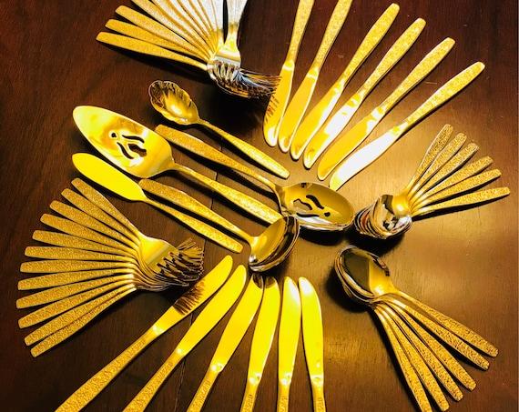 Vintage Gold Flatware Set Golden Spring Garden Flatware, 48 piece service for 12, Hostess Set, Wood Silverware Box, Luxury Silverware gift