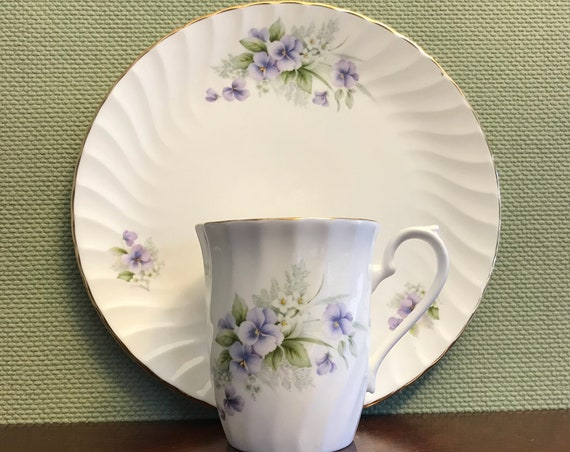 Vintage Tea cup Set, Royal Sutherland China violets Tea Set gift for her