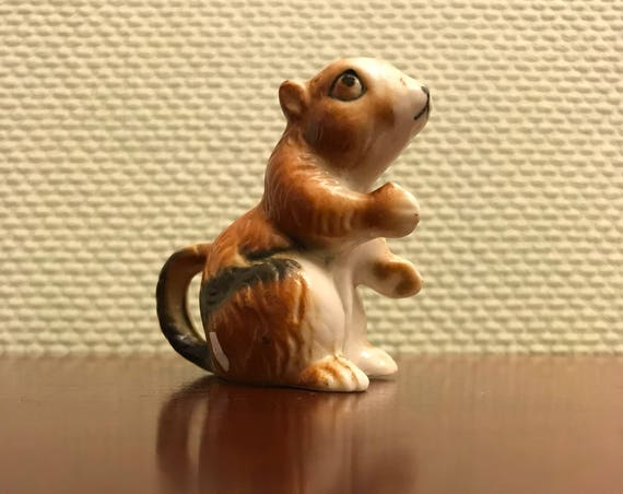 Vintage Chipmunk figurine, Bone China chipmunk Figurine, Small woodland animal collectible, minature chipmunk figurine, teeny tiny, Diorama