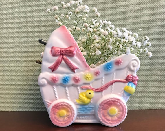 Vintage Music box Baby planter, ceramic Baby buggy, baby nursery decor, Baby shower gift