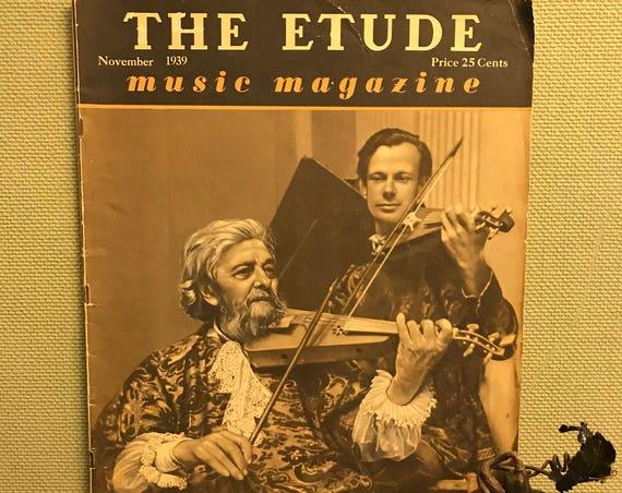 Etude Magazine, November Autumn edition, 1939 November Edition, Vintage Fall decoration collectible music magazine, paper Ephemera, Gift
