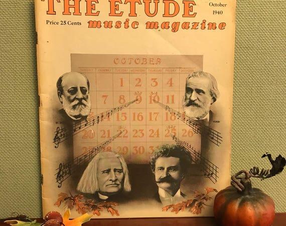 Etude Magazine, October Autumn edition, 1940 October Edition, Vintage Fall decoration, collectible music magazine, paper Ephemera, Gift