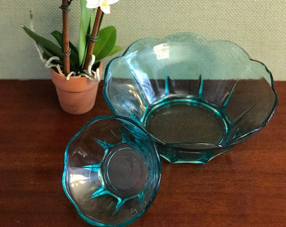 Vintage Chip Dip set, Anchor Hocking Swedish Modern serving bowl set, Collectible serving dishes, party ware, gift for her, turquoise Glass