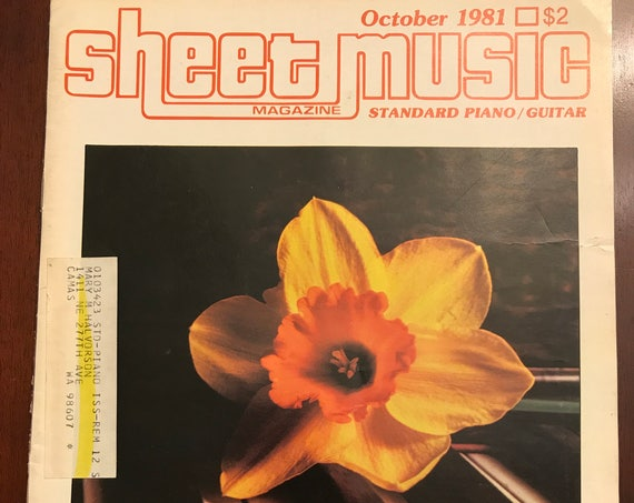 Vintage Sheet Music Magazine, October 1981 issue, Standard Piano Guitar music magazine, collectible music magazine, paper ephemera