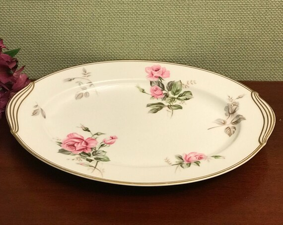 Vintage Rose Platter, Noritake Rosa 5460 pattern Platter, Noritake Rosa Small oval platter, 11 inch China platter, Rose dishes, Gift for Her